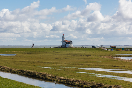 Het Paard vuurtoren, Marken, Nederland Stockfoto