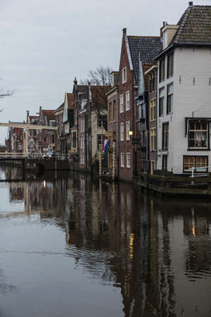 Canal and houses in the old part of Alkmaar, Netherlands