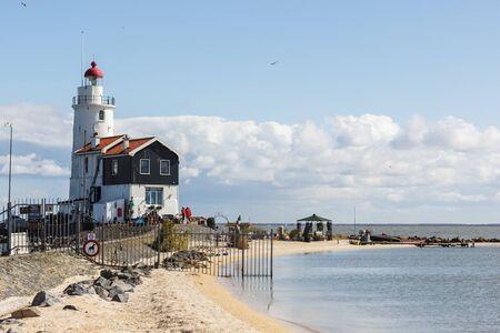 traditionally dutch: Het Paard lighthouse,Marken, The Netherlands Stock Photo