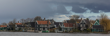 water turbine: Typical houses of the Zaanse Schans in Holland, the Netherlands