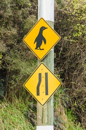 Penguin crossing sign,Harigton point,,South Island,New Zealand