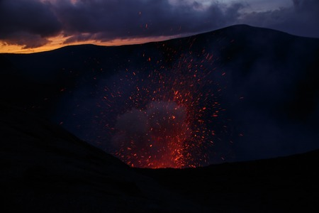 Eruption Yasur volcano and sunset on the crater edge, Tanna, Vanuatu