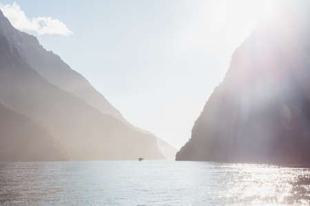 Milford Sound during sunset. Fiordland national park, South island, New Zealand Stock Photo