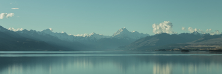 Mount Cook and Lake Pukaki, National Park Southern Alps ,New Zealand