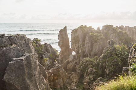 Punakaiki Pancake Rocks and Blowholes, West Coast, New Zealand Stok Fotoğraf