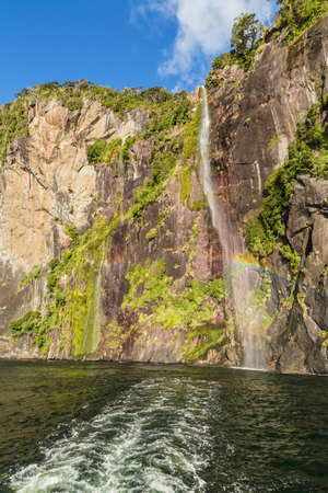 Twin Waterfalls. Milford Sound. Fiordland national park, South island, New Zealand Stock Photo
