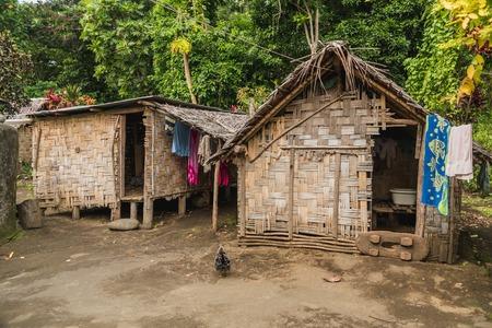 Banana houses in Fanla village Ranon,Ambrym island, Malampa prov, Vanuatu. Stok Fotoğraf