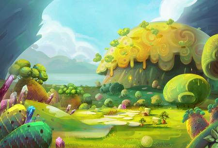 ave del paraiso: La aventura de El pájaro minúsculo Este es uno de los muchos lugares increíbles que el pequeño pájaro pasó por en su viaje de aventura voladora Escena Diseño.