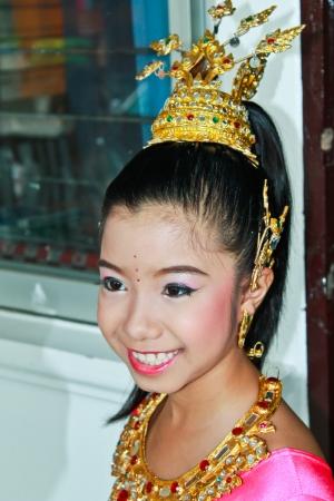 Thai girl in her Thai dress Stock Photo