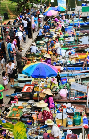 people at floating market in South of Thailand