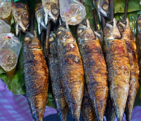 grilled fish on banana leaf Editorial