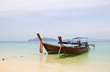 traditonal long tail boat, Koh Kradan, Thailand Stock Photo
