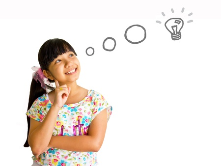 asian girl thinking over white background 写真素材