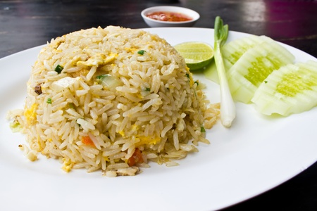 Thai fried rice with crab Stock Photo