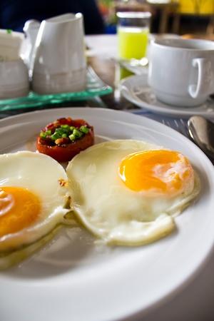 fried eggs for breakfast Stock Photo