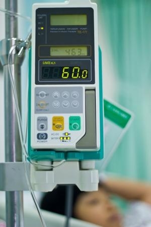 sick girl sleeping in hospital bed Stock Photo