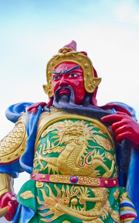 Statue Of Guan Yu  God of honor  Hatyai Hill, Songkla Thailand photo