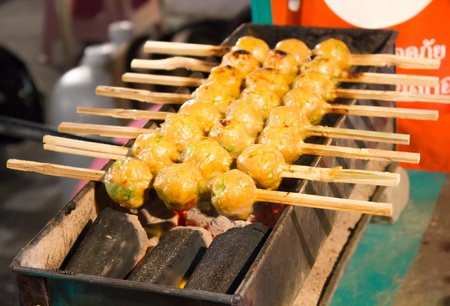 fish in ball: meat balls grilled with curry