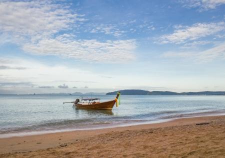 aonang: long tail boat at Aonang beach, Thailand