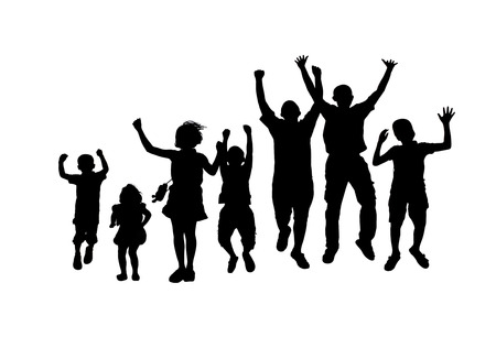 silhouette photo of seven children jumping