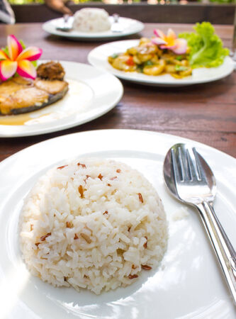 steam rice in white plate Stock Photo