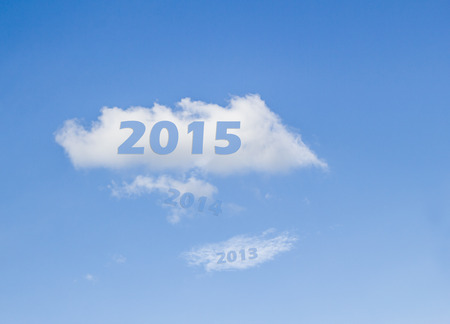 year 2015 on white cloud after 2013-2014 pass photo
