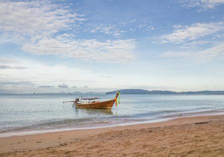 long tail: long tail boat in the sea at the Aonang beach Krabi,Thailand