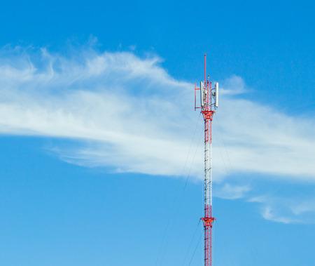 gsm: gsm antenna pole on blue sky background