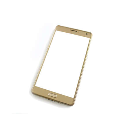 mobile phone gold color isolated on white background