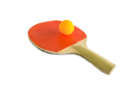table tennis: Table tennis racket and ball on a white background
