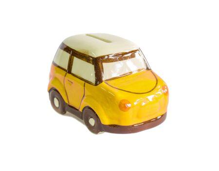 mini car: mini car piggy bank isolated on white background Stock Photo