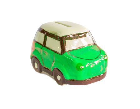 mini car: mini car piggy bank isolated on white background Stock Photo