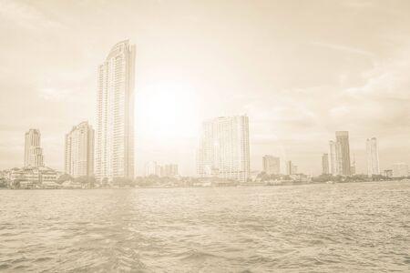 praya: city building and Jao Praya river of Bangkok, Thailand