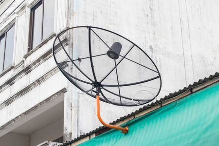 satelite: satelite dish on the house roof Stock Photo