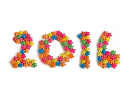0 1 year: 2016 sprinkles isolated on white background