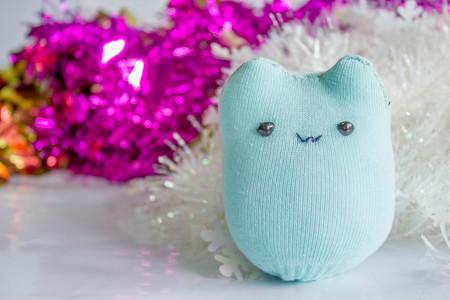made by hand: sock plush: hand made doll from socki Stock Photo