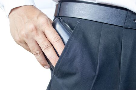 pulling money: business man pull wallet from his pocket
