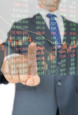 double click: double exposure of businessman pressing on stock price