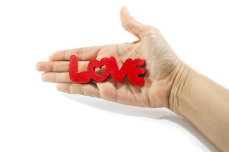 sustain: hand hold love word isolated on white background: in the  concept of sustain love