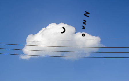 snore: electricity wire on blue sky and white cloud background looking like man sleeping Stock Photo