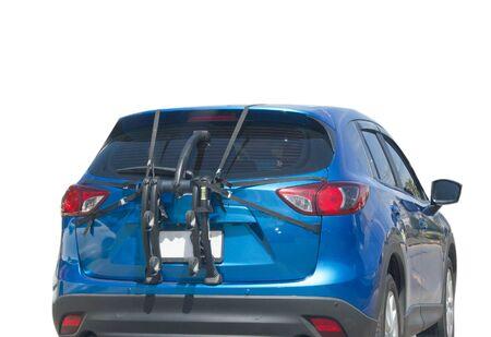 bike rack on car back isolated on white background Imagens
