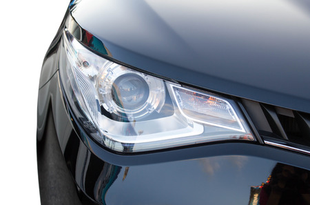 close up of black car headlight Stock Photo