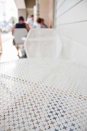 white metal table in the restaurant