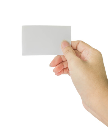 concept photo of right hand hold business card, credit card or blank paper isolated on white background Stock Photo