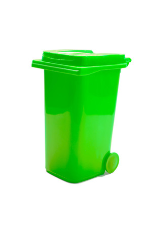 big bin: green trash can isolated on white background