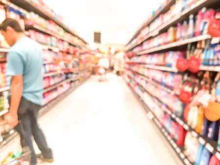 the shelf: supermarket shelf in blurry for background