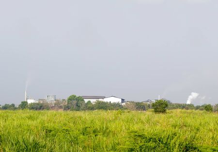smoke stack: factory with smoke stack behind green field