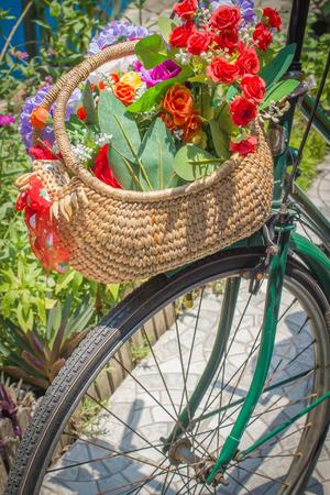 flower basket: vintage bicycle with flower basket