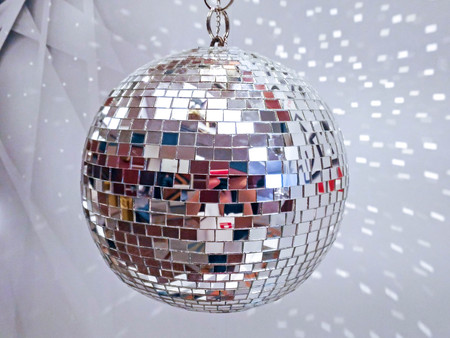 mirrorball: white disco ball with reflection
