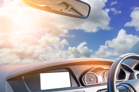 modern car with beautiful sky and soft sunlight Imagens